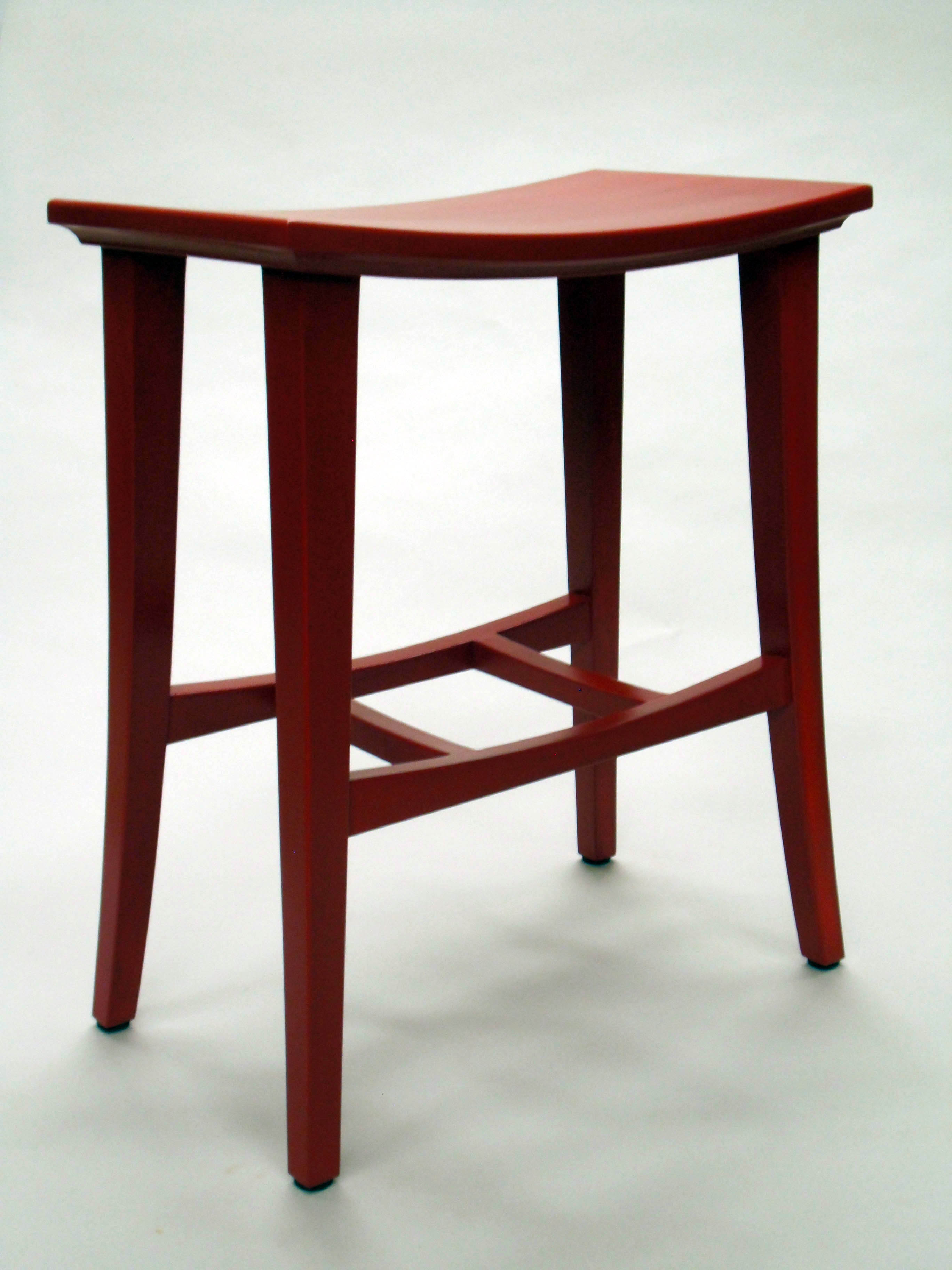 custom built bright red wood mortise and tenoned Bright Red Stool